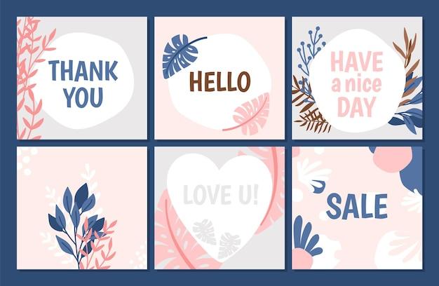 Шаблон цветочные модные карты. спасибо, милая, распродажа баннеров. симпатичные современные листовки с набором векторных цветов и растений