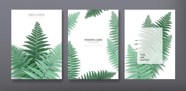 Цветочный модный дизайн шаблона поздравительной открытки или приглашения, набор плакатов, флаеров, брошюр, обложек, партийной рекламы, темно-зеленые листья папоротника в векторе