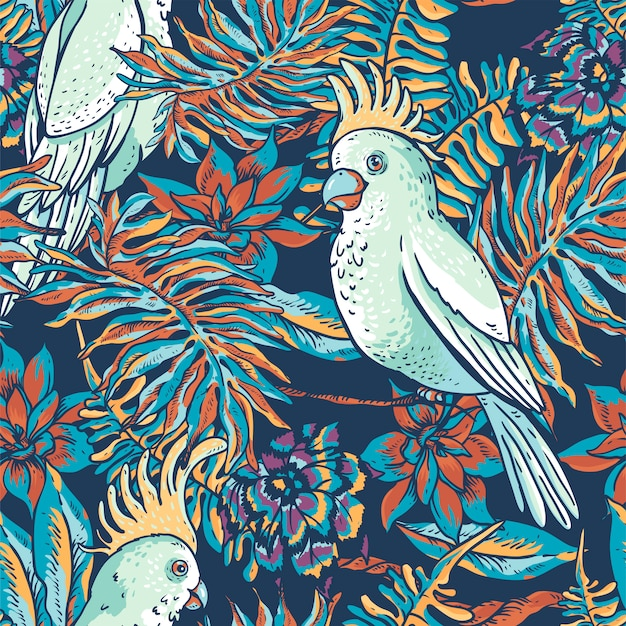 Floral tropical natural seamless pattern. white parrot, greenery texture, tropical flowers