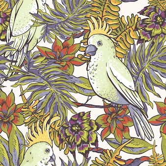 Floral tropical natural seamless pattern. white parrot, greenery texture