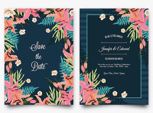 花の熱帯の結婚式の招待状