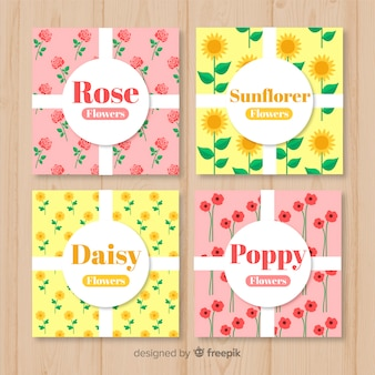 Floral types spring card pack