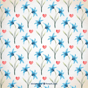 Floral valentine day watercolor pattern Premium Vector