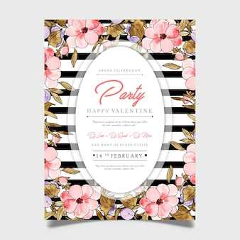 Floral valentine party poster
