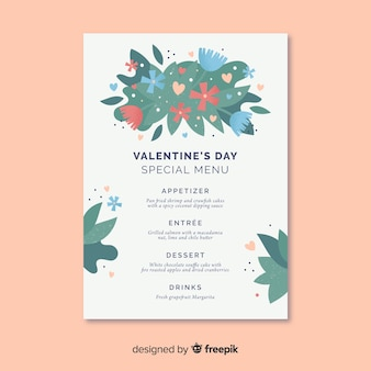 Floral valentine's day menu template