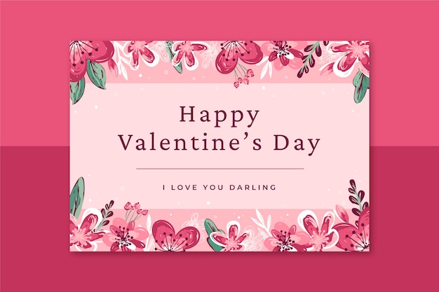 Floral valentines day card template