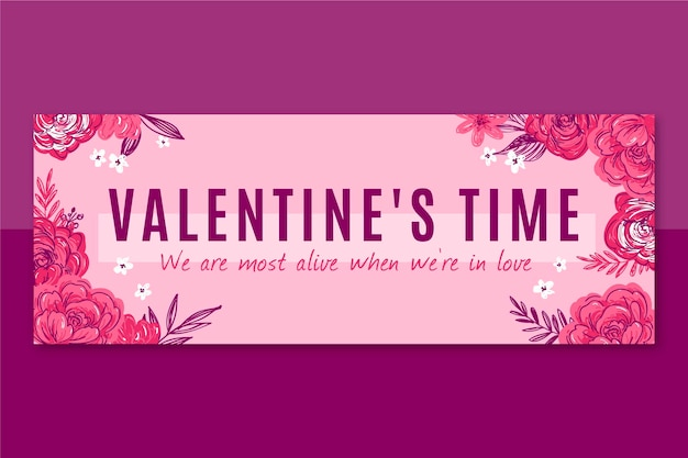 Floral valentines day facebook cover
