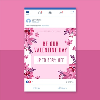 Floral valentines day facebook post template