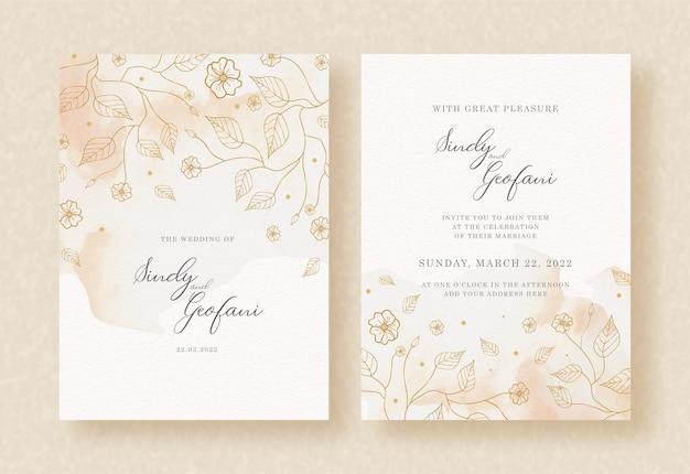 花のベクトルと結婚式の招待カードの背景に水彩のスプラッシュ Premiumベクター