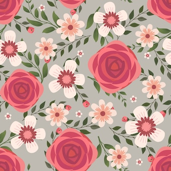 Floral vector artwork for apparel and fashion fabrics, red rose flowers wreath ivy style with branch and leaves. seamless patterns background.