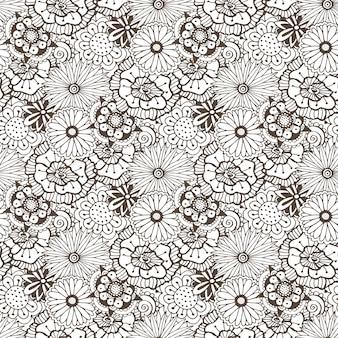 ブックページやテキスタイルデザインを着色するための花のベクトルの背景。シームレスなパターン