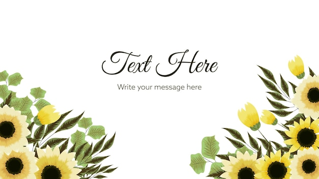 Floral vector border background with yellow stylized doodle flowers leaves and place for text
