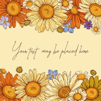 Floral vector composition for poster banner greeting card or invitation with horizontal text area