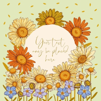 Floral vector composition for poster banner greeting card or invitation with round text area