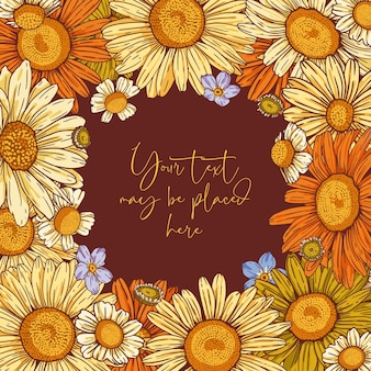 Floral vector composition for poster banner greeting card or invitation with text area