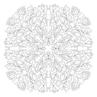 花のベクトルパターン。細線細工の飾り。塗り絵の黒と白のテンプレート。
