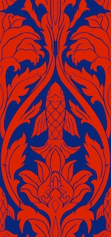 Floral vector pattern with fish blue and red underwater template stylized chinese background