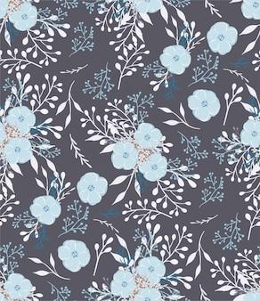 小さな花と葉の花のベクトルパターン。