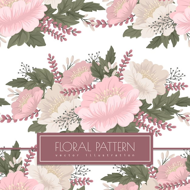 Floral vector - pink flowers seamless pattern