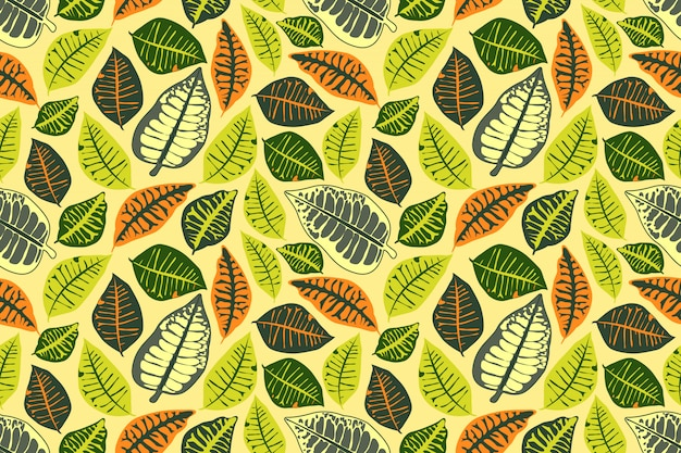 Floral vector seamless pattern with colorful leaves