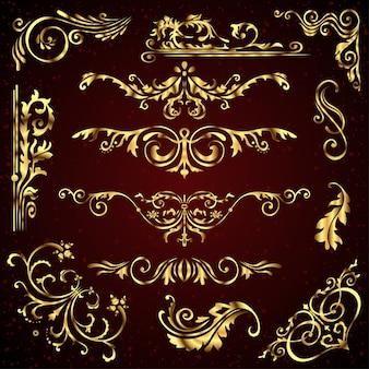 Floral vector set of golden ornate page decor elements