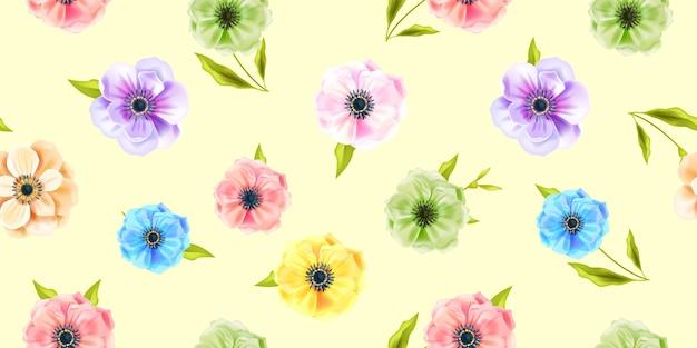 マルチカラーのアネモネの花、柔らかい黄色の背景に緑の葉と花のベクトル春のシームレスなパターン。夏の自然は装飾や花の質感を繰り返します。花柄のモダンなシームレスパターン