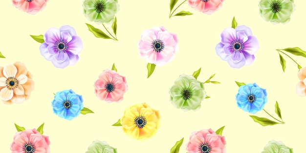 Floral vector spring seamless pattern with multi-colored anemone flowers, green leaves on soft yellow background. summer nature repeat ornament or blossom texture. floral modern seamless pattern
