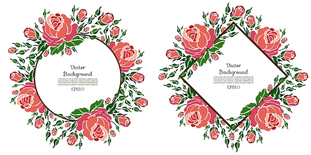 Floral vector templates with roses