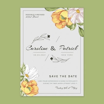 Floral vertical card template for wedding