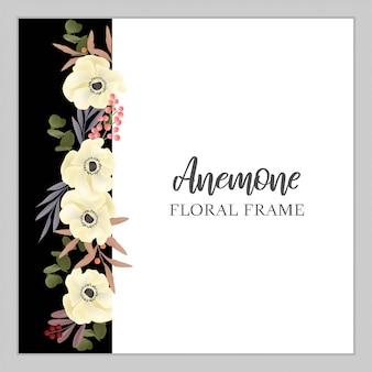 Floral vertical frame with anemone flower bouquet