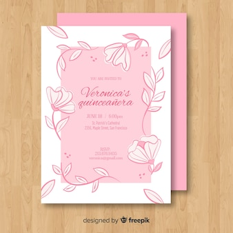 Floral vine quinceanera card template