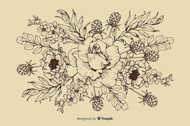 Floral vintage bouquet hand drawn