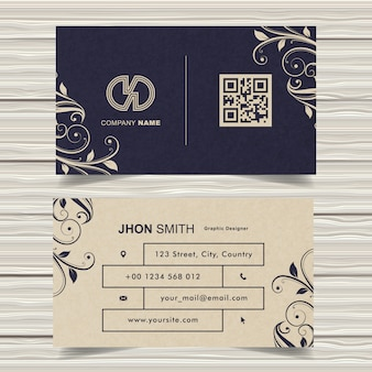 Floral vintage business card design