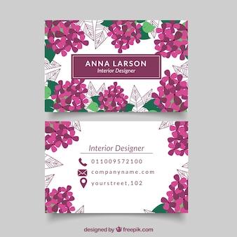 Floral vintage interior designer card