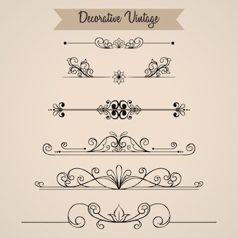Floral vintage ornament collection with hand drawn style