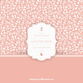 Floral vintage pattern with wedding invitation label
