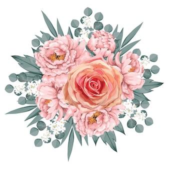 플로랄 빈티지 핑크 로즈