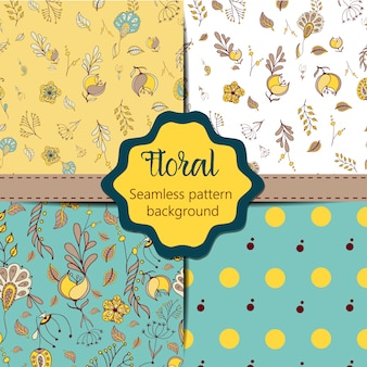 Floral vintage seamless pattern collection