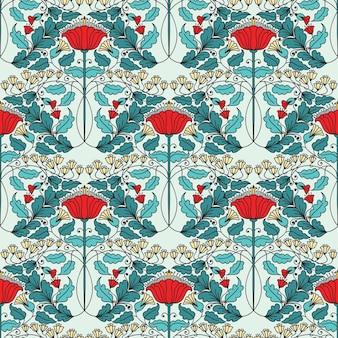 레트로 배경 화면 꽃 빈티지 원활한 패턴