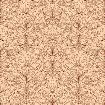 レトロな壁紙のための花のヴィンテージシームレスパターン