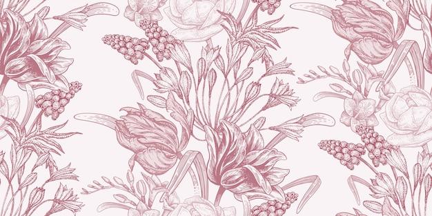 Цветочные старинные бесшовные модели с весенними цветами
