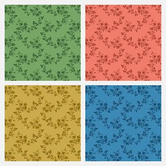 花のビンテージスタイルのパターンセット