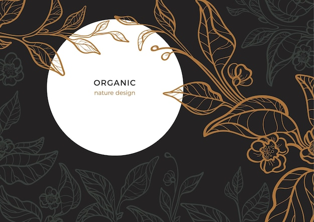 Цветочный винтажный шаблон чайная ветка с листом и художественной линией цветок ночной лунный сад