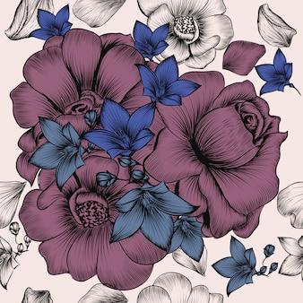 ビンテージスタイルで刻まれた手描き花と花の壁紙パターン 無料ベクター