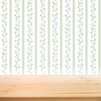 製品のプレゼンテーションの背景に木製のテーブルと花の壁紙