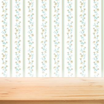 Floral wallpaper with wooden table for product presentation background