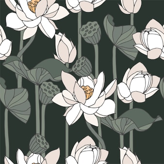 . floral water lily seamless pattern.