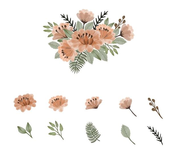 복숭아와 요소 꽃 봉오리 가지와 잎의 꽃 수채화 배열