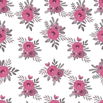 Floral watercolor arrangement seamless pattern