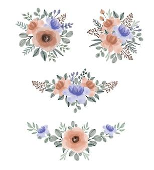 꽃 수채화 배열 세트